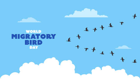 Detailed flat vector illustration of a flock of migrating birds on a blue background with clouds. World Migratory Birds Day. Vecteurs