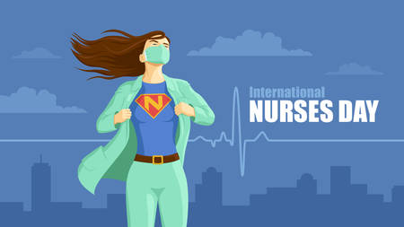 Detailed flat vector illustration of a nurse revealing her superhero emblem underneath her coat. International Nurses Day.