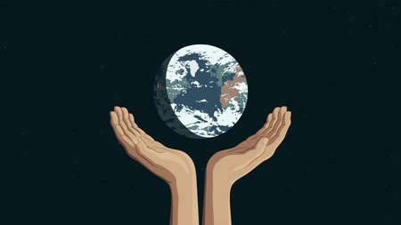 Detailed flat vector illustration of two hands holding the Earth.