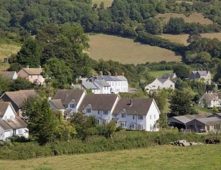 devon: village white houses rural countryside devon england uk