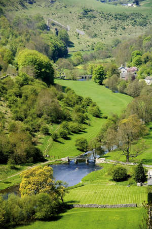 derbyshire: river valley england derbyshire peak district national park Stock Photo