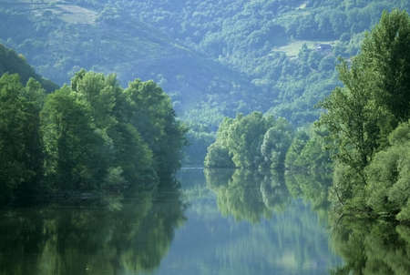 pyrenees: the river lot midi pyrenees france europe
