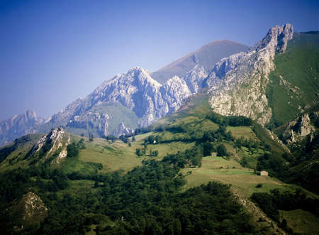picos: picos de europa mountain range spain europe Stock Photo