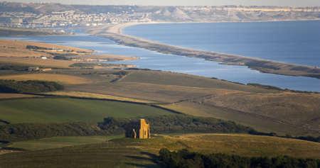 dorset: england dorset coast chesil beach chapel hill abbotsbury weymouth and portland in distance
