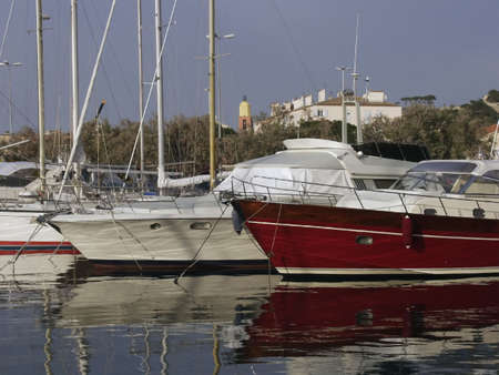 tropez: st tropez harbour with expensive boats france