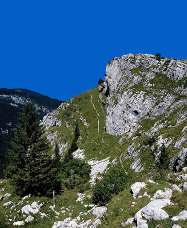 the crag: chartreuse limestone crag the french alps france