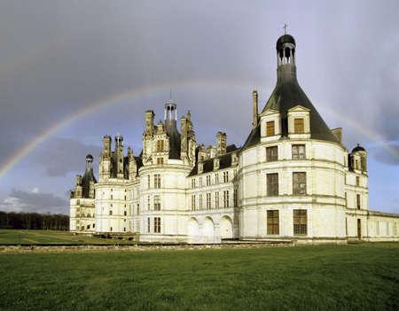 chambord: chateau chambord rainbow loire valley france Stock Photo