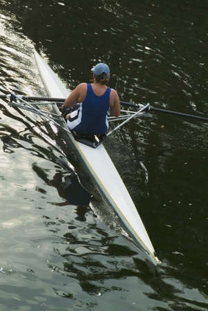 ouse: rower on river Stock Photo