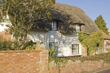 thatched cottage: thatched cottage in village