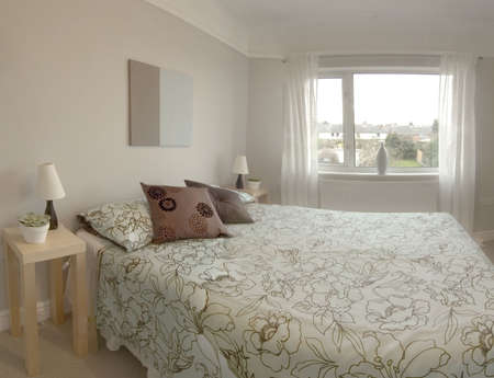 bedroom in newly converted house Stock Photo