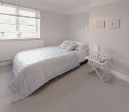 accommodation space: bedroom in newly converted house Stock Photo