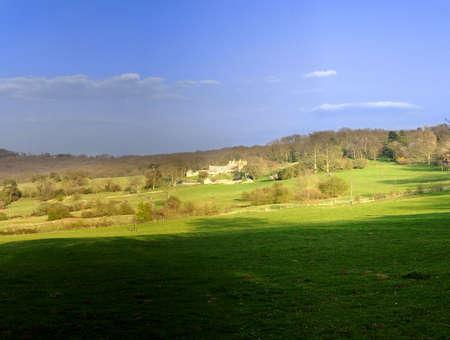 cotswold: Cotswold casale terreni agricoli nelle zone rurali campagna impostazione Archivio Fotografico