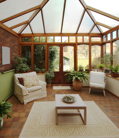 conservatory: conservatory in house homes property real estate Stock Photo