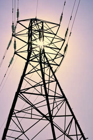 electricity supply: pylon carrying electricity supply power lines Stock Photo