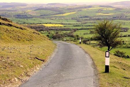 valley below: mountain road valley below long mynd shropshire england uk
