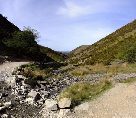 mill valley: footpath through the carding mill valley shropshire england uk