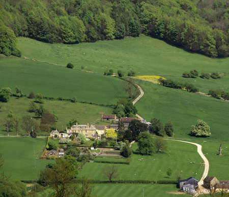 view of farm from high up the cotswolds the midlands england uk Stock Photo - 908999