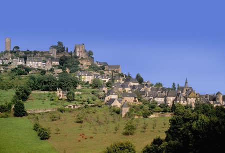 limousin: hilltop village turenne correze limousin france europe