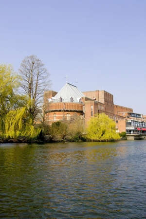 rsc: shakespeare memorial theatre stratford-upon-avon seen across the river avon warwickshire the midlands england uk