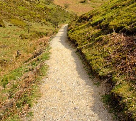 mill valley: footpathn stream footpath uphill carding mill valley shropshire england uk
