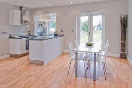 kitchen dining room in newly converted and rebuilt house