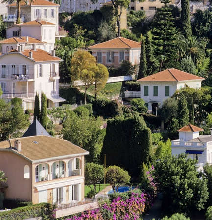french riviera: houses villefranche sur mer alpes maritime french riviera cote dazur provence franmce europe