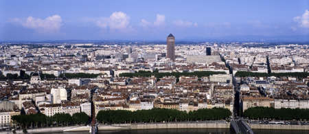 lyon: view over the city of lyon the rivers saone and rhone
