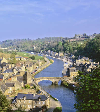 rance: view over the estuary of the river rance the town of dinan cotes darmor brittany france europe