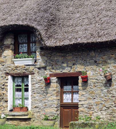 thatched cottage: thatched cottage france marzan village la roche bernard morbihan brittany europe