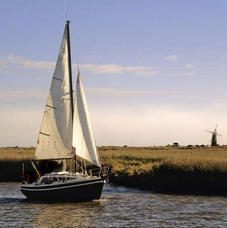 burgh: sailing on the norfolk broads river waveney berny arms mill brgh castle norfolk broads national park east anglia england uk europe