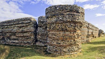 burgh: roman fort gariannonium burgh castle norfolk broads national park east anglia england uk europe