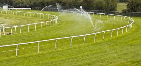 racecourse: sprinklers watering racecourse