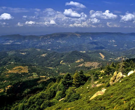 des: view from belvedere des bouzades the cevennes mountains national park lozere languedoc-roussillon south of france europe