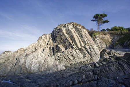 rock strata: colour image lee bay ilfracombe the devon coast england uk