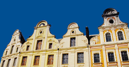 heros:  flemish buildings in the main square of the french town of arras Stock Photo