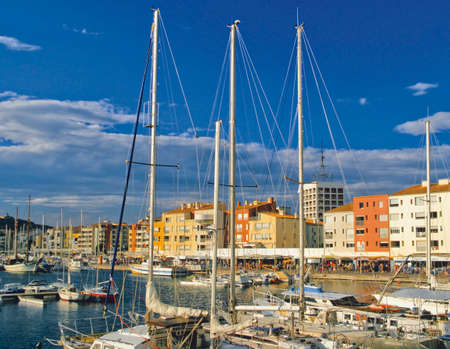 moorings: cap dagde marina port herault languedoc-roussillon south of france europe Stock Photo
