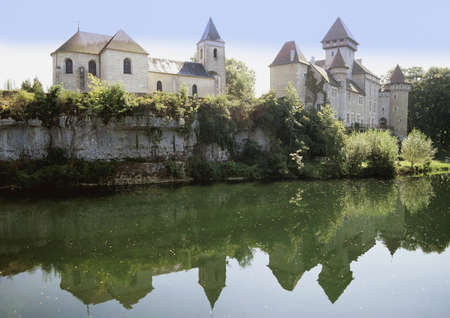 palatial: chateau cleron near pontarlier river doubs the jura franche-compte france europe