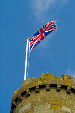 gb: union jack castle tower turret Stock Photo