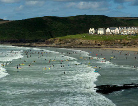 cornish: polzeath hayle bay the cornish coast cornwall england uk surfers