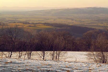 worcestershire: england gloucestershire the cotswolds broadway tower park with covering of snow winter