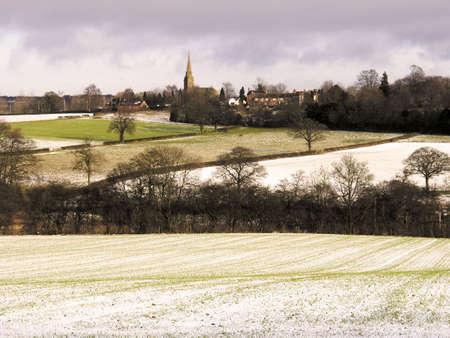 warwickshire farmland covered in snow winter photo