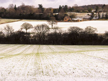 wintry landscape: warwickshire farmland covered in snow winter Stock Photo