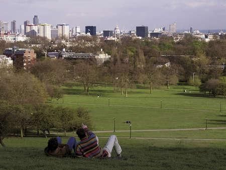 people  on primrose hill camden north london photo