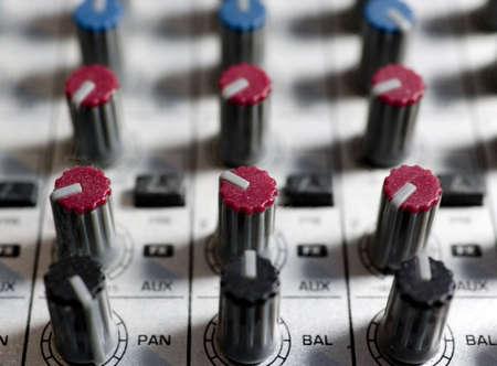 mixing desk in recording studio photo