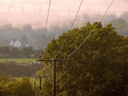 three phase: telephone cables and wires Stock Photo