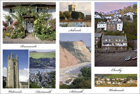 put together: a picture postcard of towns and villages in devon put together from my own images Stock Photo
