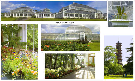 conservatories: a picture postcard of the Royal Botanical Gardens at Kew Kew Gardens London England put together from my own images Stock Photo