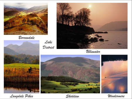 langdale pikes: a digital picture postcard of the lake district assembled from my own images Stock Photo