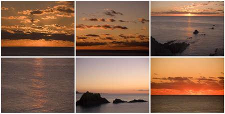 sunrises:  collage montage sunset sunrise over sea Stock Photo