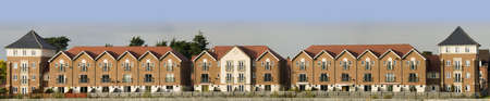 house prices: new houses and flats Stock Photo
